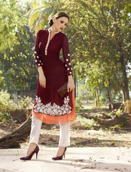 Georgette Kurti With Embroidery Work