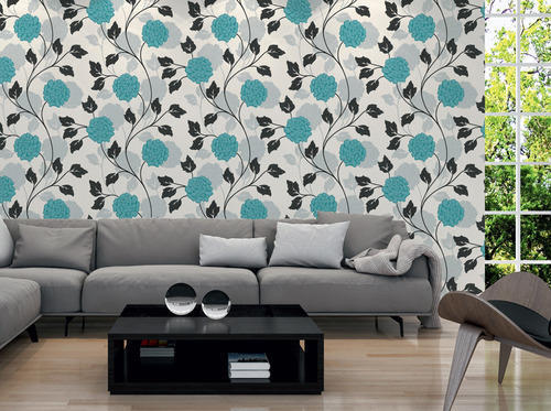 Colourful Wall Papers Designs Blue Colour Flower Wallpaper
