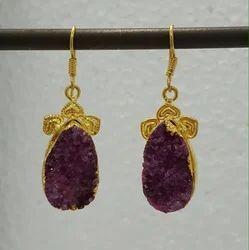 Hanging Druzy Agate Earrings