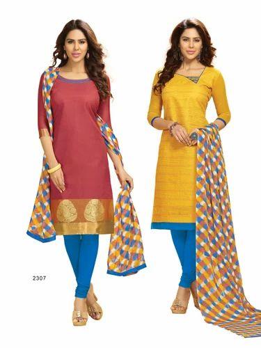 9b6705e72b Double Top Banarasi & Chanderi Silk Churidar Salwar Suit - Mandipa ...