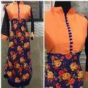 Orange  Navy Blue Bhagalpuri Tunic