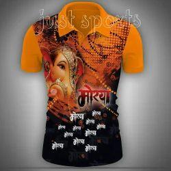 Lycra Cotton Collar Neck Ganpati Printed T Shirt