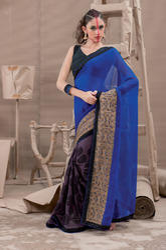 Blue Colored Georgette Saree