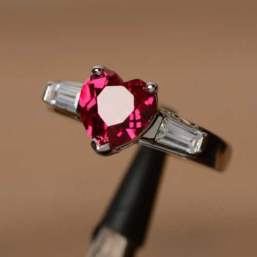 Heart Shaped Ruby Silver Ring