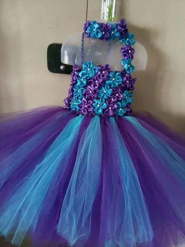Kids Purple And Blue Tutu Dress, Maverick Collections | ID: 20181451191