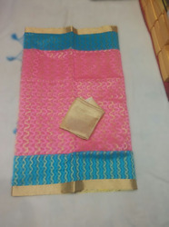 Net Blue Pink Saree