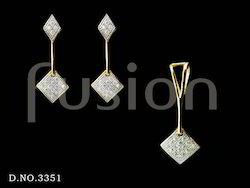 American Diamond (C.Z) Designer Pendant Set