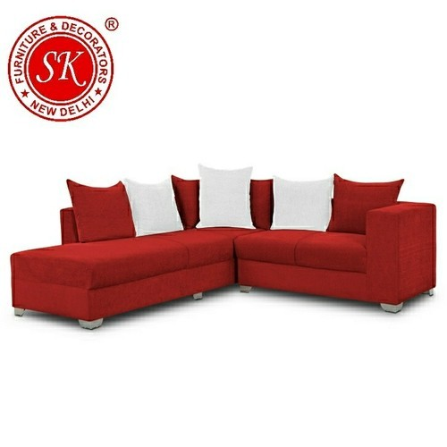 SKF Decor Wood Red L Shape Sofa Set, Seating Capacity: 4 to 5 Seater