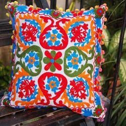 Cotton Embroiderer Suzani Car Decor Pillow Case with Pom Pom