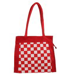 Red and White Checks Jute Hand Bag