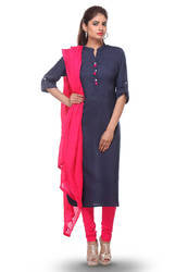 Plain Rayon Cotton Straight Cut Suit In Navy Blue