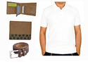 Style Corner Combo Pack  Wallet With White Polo T-shirt Belt