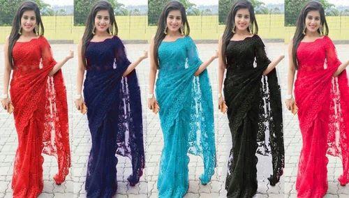 Net Designer Saree, With Blouse Piece, Savitha's Boutique | ID: 19085478291