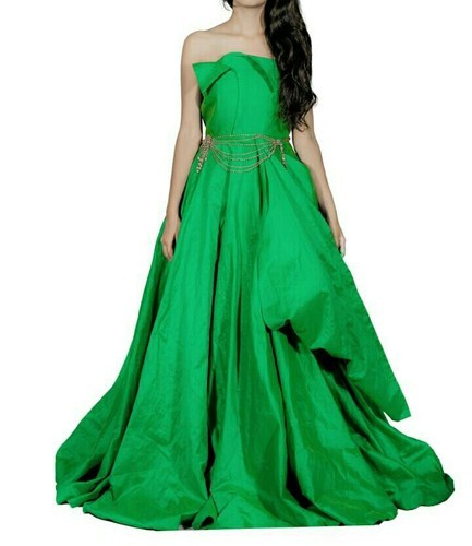 Green Georgette Party Gowns