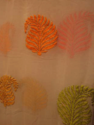 Georgette Leaves Embroidered Fabric
