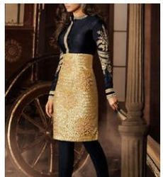 Black Embroidered Net Semi Stitched Salwar
