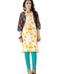 Jacket Style Ladies Printed Cotton Kurti