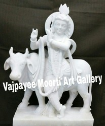 Marble Lord Cow Krishna Statue