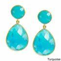 Turquoise Gemstone Bezel Set Earring