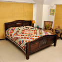 Indian Cut Work Bed Cover Applique Kantha Quilt