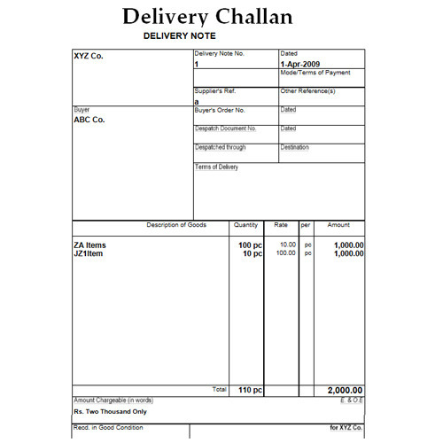 Delivery challan book printed book sahakara nagar for Standard shipping note template
