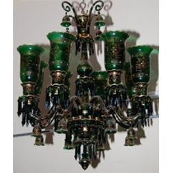 Glass Green Color Handpainted Chandelier