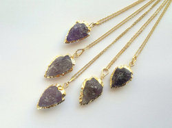 Amethyst Arrowhead Pendant Necklace