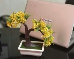 Hyperboles Artificial Bonsai Plant ( Yellow Colour Leaves)