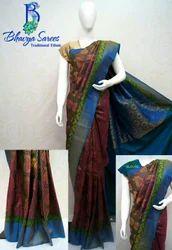 Gadwal Silk Pure Zari Model Allover Flower Brocade Saree