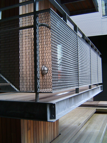 Expanded metal balcony railings security mesh burley for Steel balcony