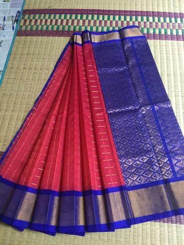 42758e9cce Kuppadam Silk Cotton Half Fine Zari Gold Kuppadam Pattu Sarees, 6.3 M (with  Blouse