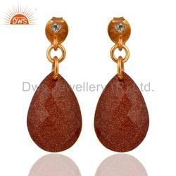 Sun Stone Gemstone 925 Silver Earrings Jewelry Supplier