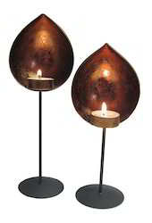 Iron Pedestal Diya t Lite Holder Set Of 2pc