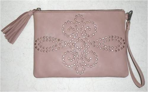 Studded Leather Wrist Bag/ Pouch
