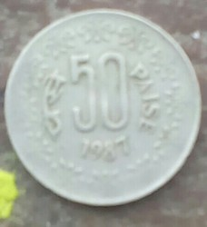 Copper_nikal Silver Old Indian Coin /50 Paise