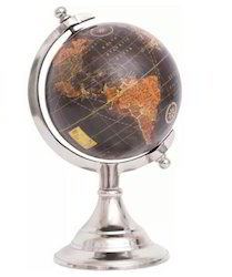 THG Raw Nickel Metal Globe Tabletop, Size: 8 Inch