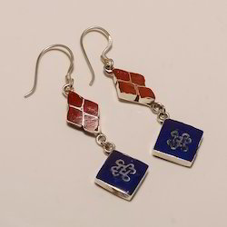 Sterling Silver Lapis and Coral Earring, Packaging Type: Box