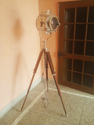 Spot Searchlight with Wooden Tripod Studio Floor Lamp