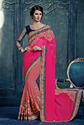 Chiffon Embroidered Red Indian Saree With Blouse Piece
