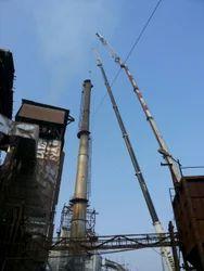 Mild Steel Chimney Erection Work, On Site