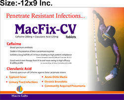 Macfix-CV Cefixime And Clavulanic Acid Tablets, Manufacturer: Macro Labs, 12x9 Inc