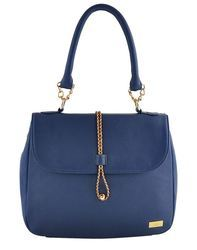 Yellow Blue Synthetic Leather Hand Bag With String Lock