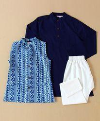 Navy Blue Kurta Pajama With Jacket