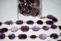 Amethyst Faceted Gemstone Bezel Connector Chain