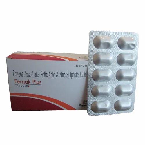 Peenak Pharma Ferrous Ascorbate And Zinc Sulphate Tablets 10x10
