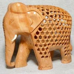 Brown Wooden Jali Elephant