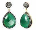 Green Onyx Pave Set Gemstone Earrings