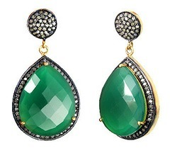 Green Onyx Pave Set Gemstone Earrings