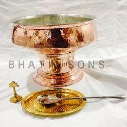 Brown Copper Lagan On Copper Stand, Size: 18 Diameter