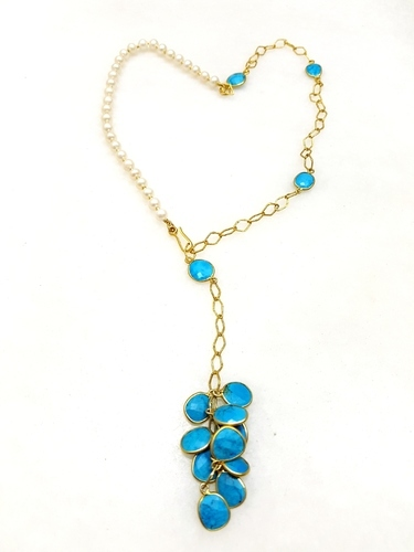 Silver pearl turquoise cluster pendant necklace at rs 4250 piece silver pearl turquoise cluster pendant necklace aloadofball Image collections